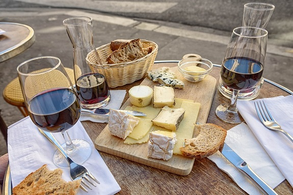 Bread Wine Paris Meal Travel France Café Cheese